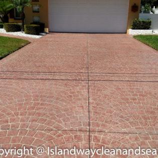 red brick driveway pavers - shell pattern