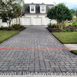 grey brick paver for white Florida home